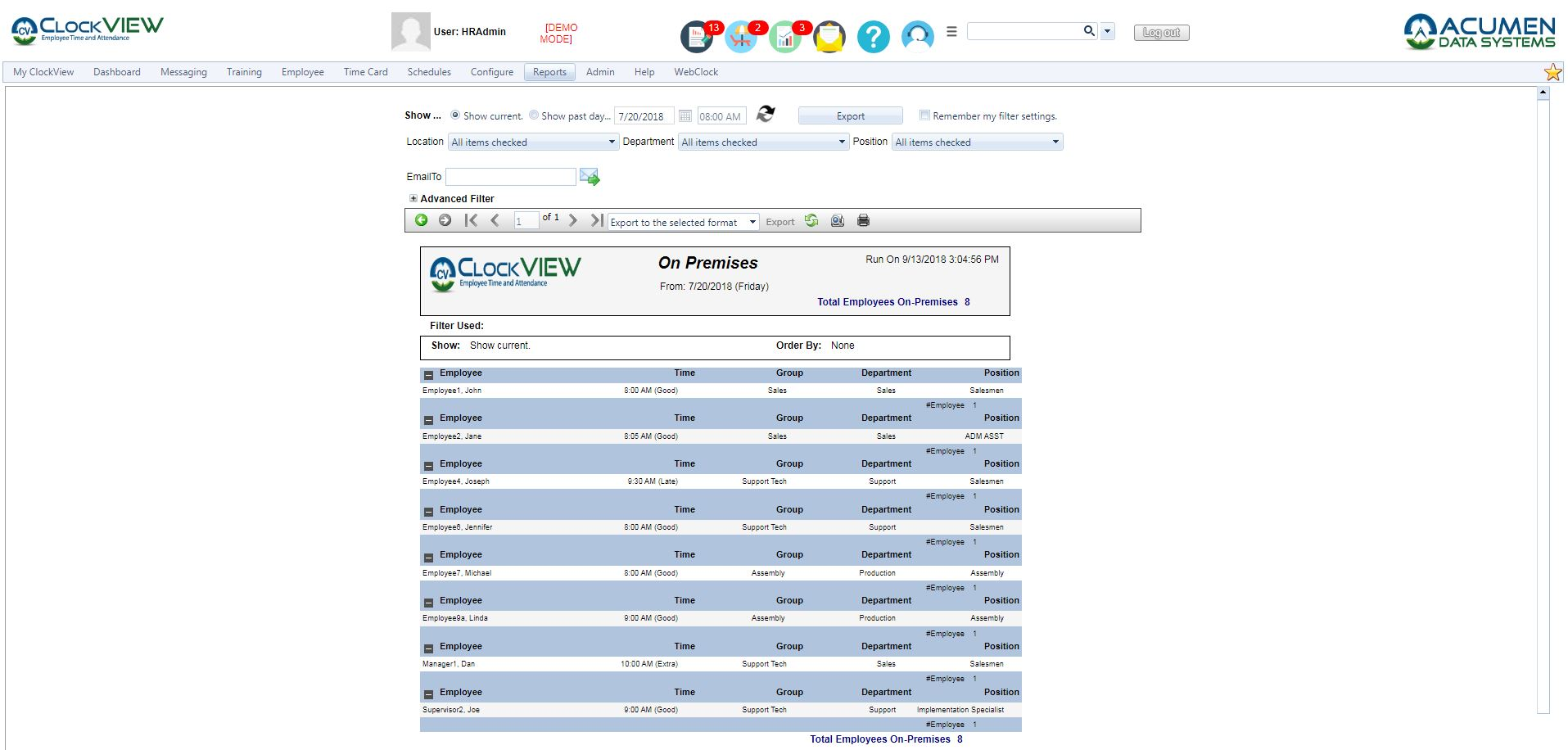 ClockVIEW On Premise Report