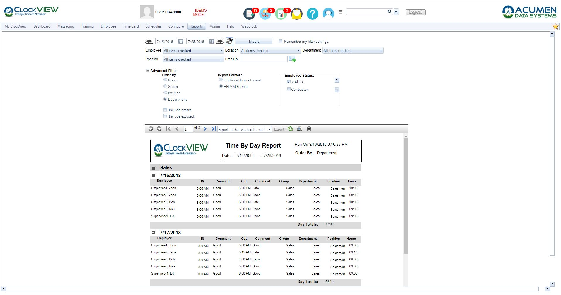 ClockVIEW Employee Time by Day Report